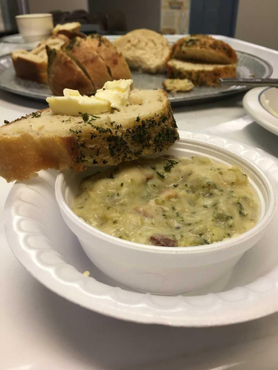 Brocolli Cheddar Chowder with Gooder Garlic Bread