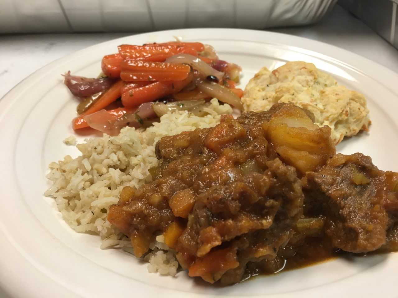 Gooder Meal - Beef Stew and Jasmine Rice Carrot and Rose Geranium Salad and Drop Biscuit